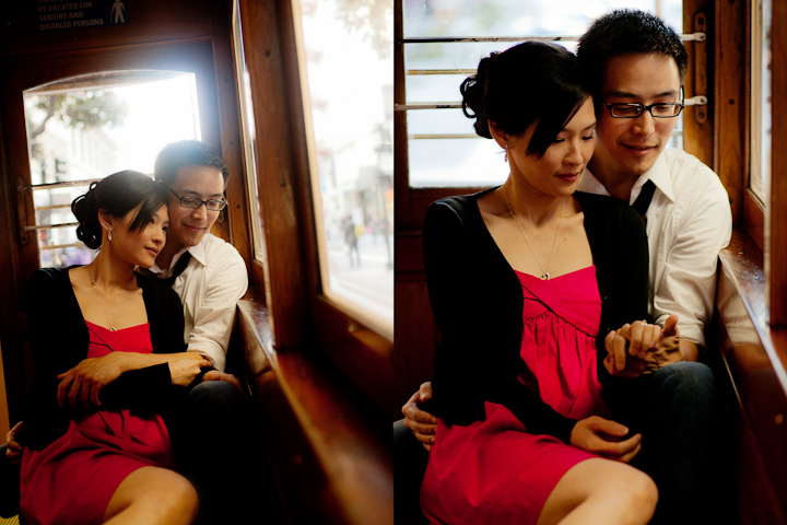 Cable Car Engagement Photo Session, Makeup and Hair by Triple Twist